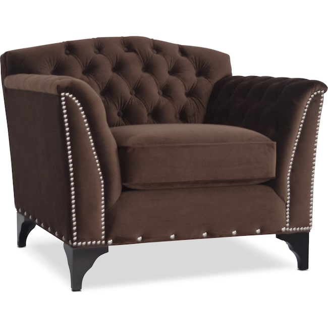 Living Room Furniture - Priscilla Accent Chair - Brown