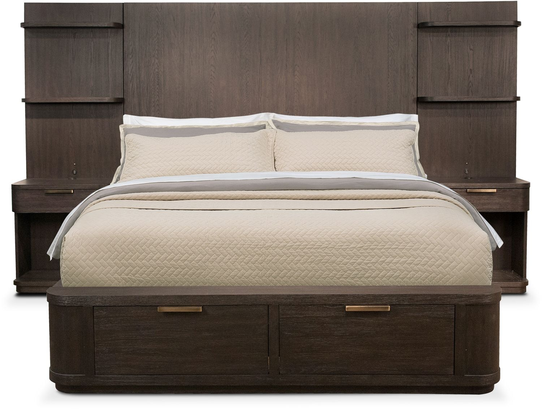 Bedroom Furniture - Malibu King Tall Storage Wall Bedroom Set - Umber