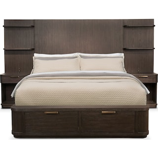 Malibu Queen Tall Storage Wall Bed - Umber