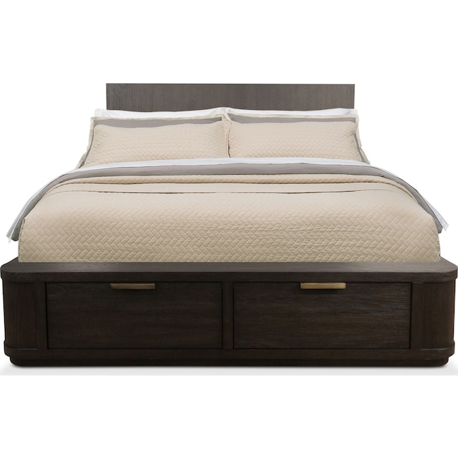 Bedroom Furniture - Malibu King Low Storage Bed - Umber