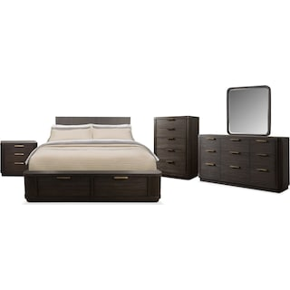 The Malibu Low Storage Bedroom Collection - Umber