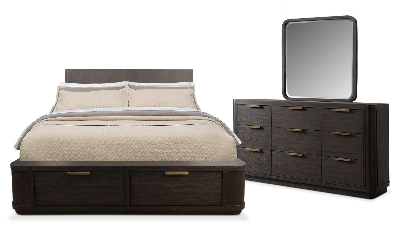 Bedroom Furniture - Malibu 5-Piece Queen Low Storage Bedroom Set - Umber