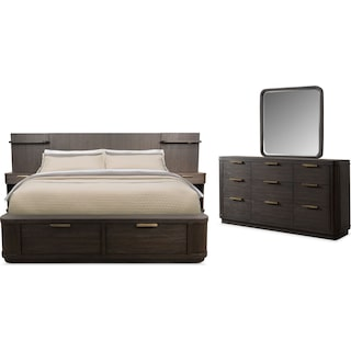 Malibu 5-Piece Queen Low Wall Storage Bedroom Set - Umber