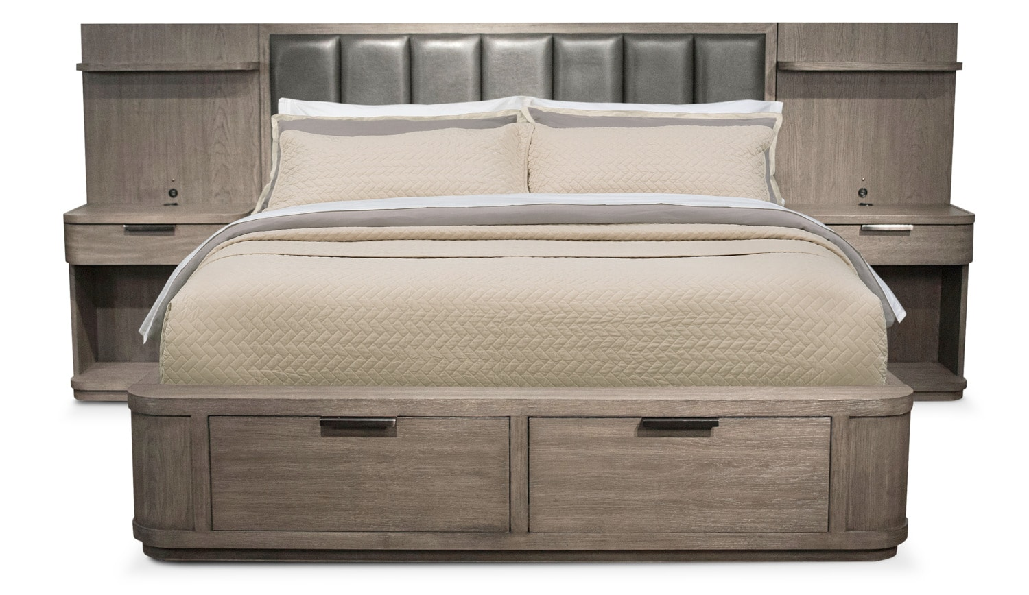 Bedroom Furniture - Malibu King Low Upholstered Storage Wall Bed - Gray
