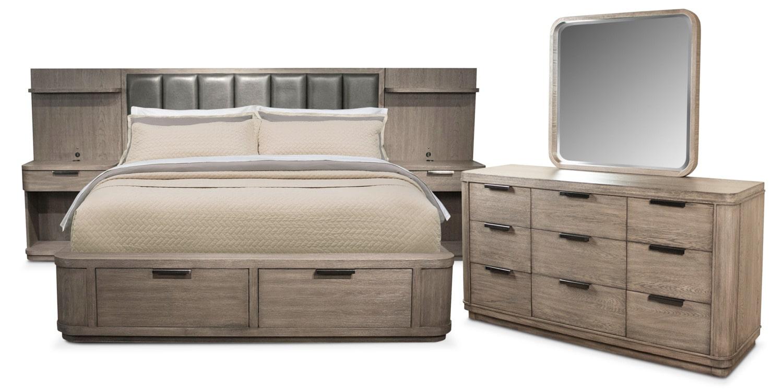 Bedroom Furniture - Malibu 5-Piece Queen Low Upholstered Wall Storage Bedroom Set - Gray