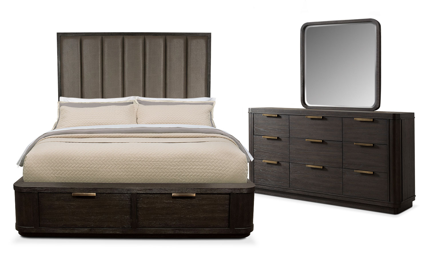 Bedroom Furniture - Malibu 5-Piece King Tall Upholstered Storage Bedroom Set - Umber