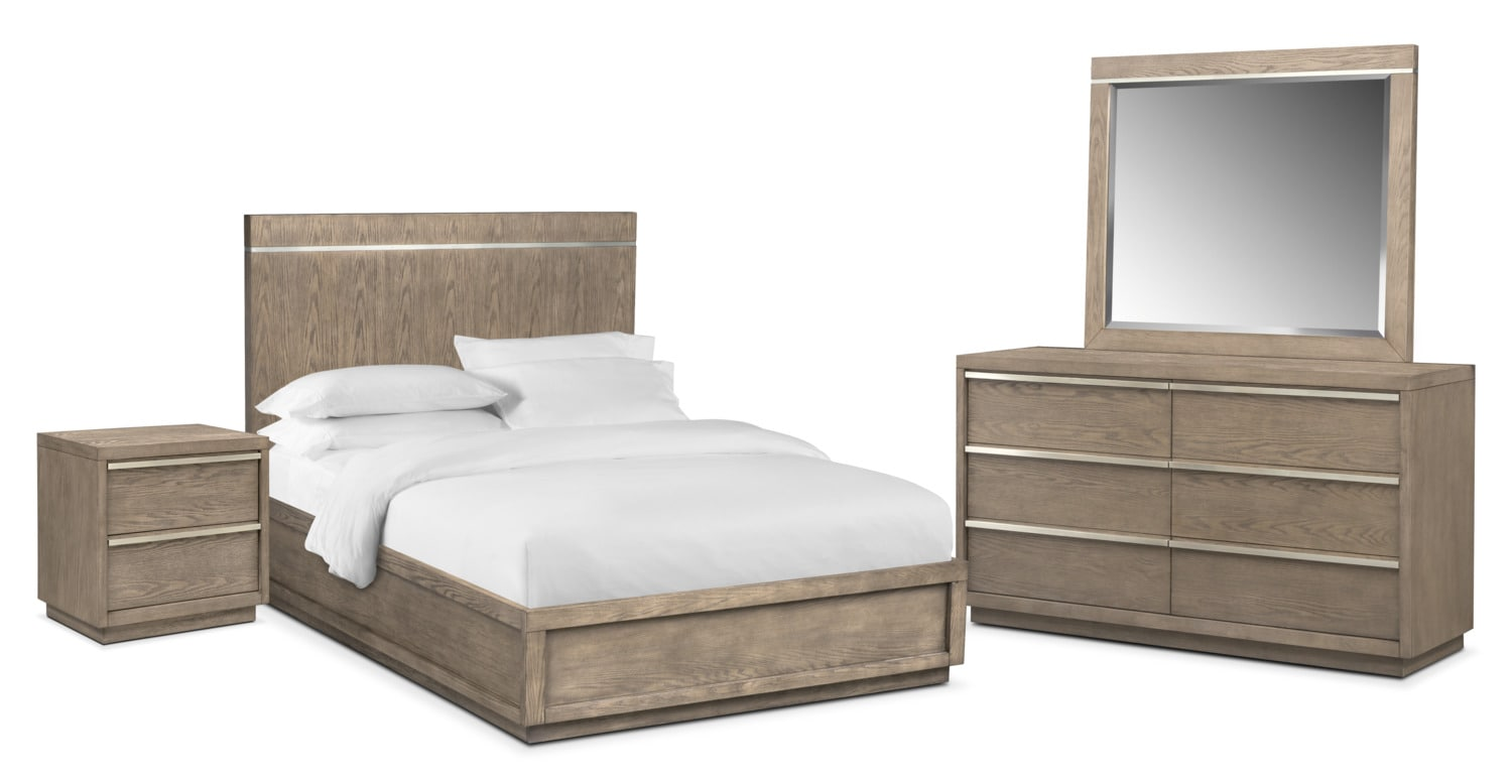 Bedroom Furniture - Gavin 6-Piece Bedroom Set with Nightstand, Dresser and Mirror
