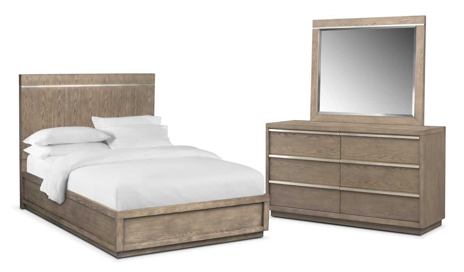 Bedroom Furniture - Gavin 5-Piece King Bedroom Set - Graystone