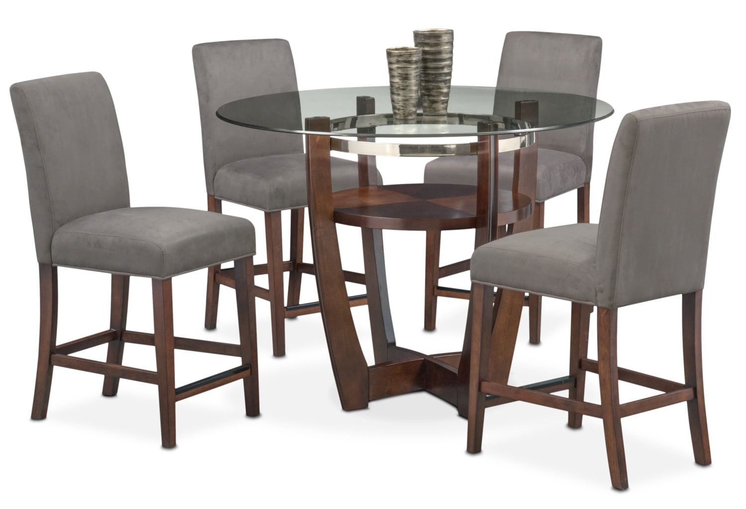 Dining Room Furniture - Alcove Counter-Height Dinette with 4 Counter-Height Stools