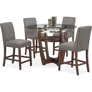 Alcove Counter-Height Table and 4 Side Chairs - Gray
