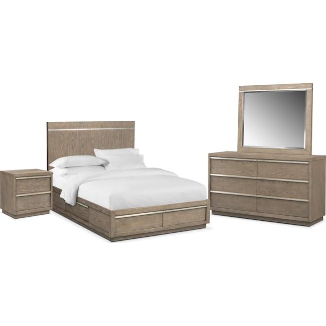 Bedroom Furniture - Gavin 6-Piece Queen Storage Bedroom Set - Graystone