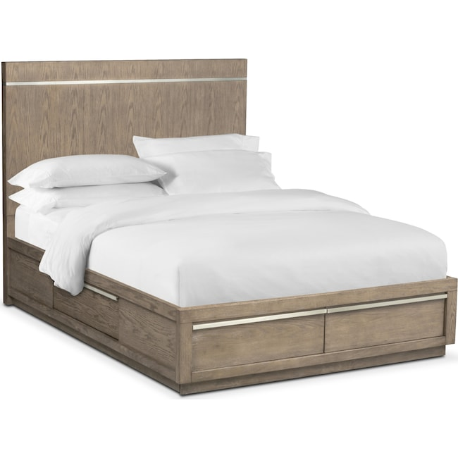 Bedroom Furniture - Gavin Queen Storage Bed - Graystone