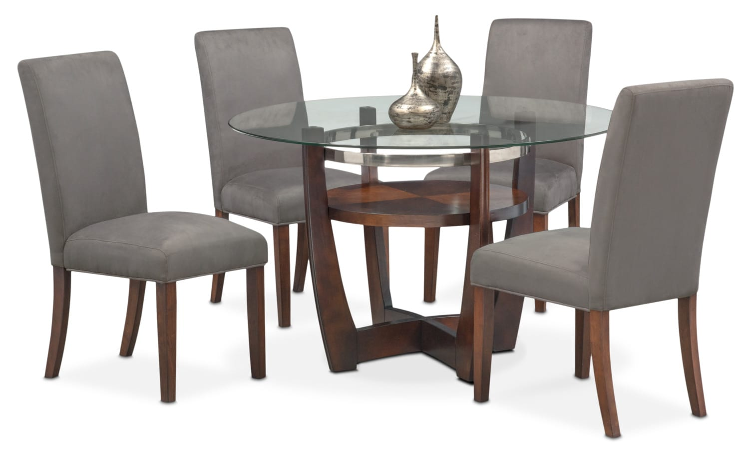 Dining Room Furniture - Alcove Table and 4 Side Chairs - Gray and Merlot