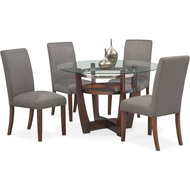 Dining Room Furniture - Alcove Table and 4 Side Chairs - Gray