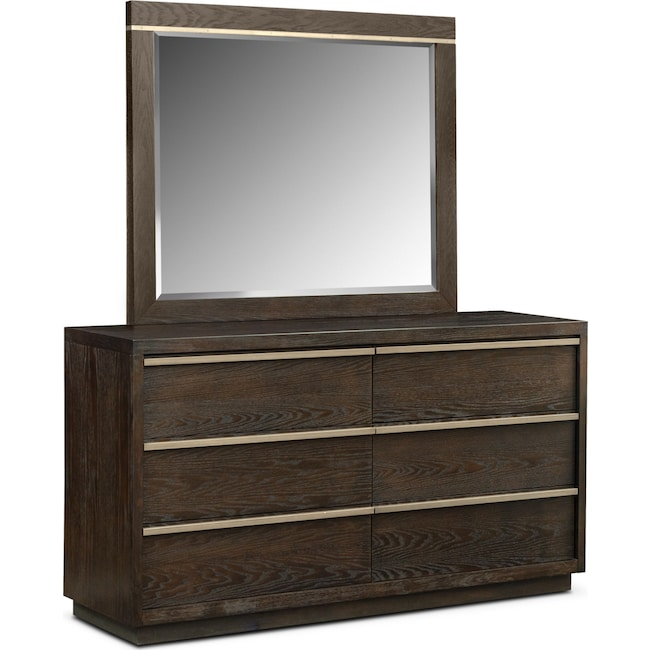 Bedroom Furniture - Gavin Dresser and Mirror - Brownstone
