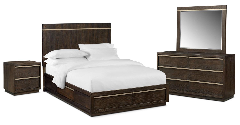 Bedroom Furniture - Gavin 6-Piece King Storage Bedroom Set - Brownstone
