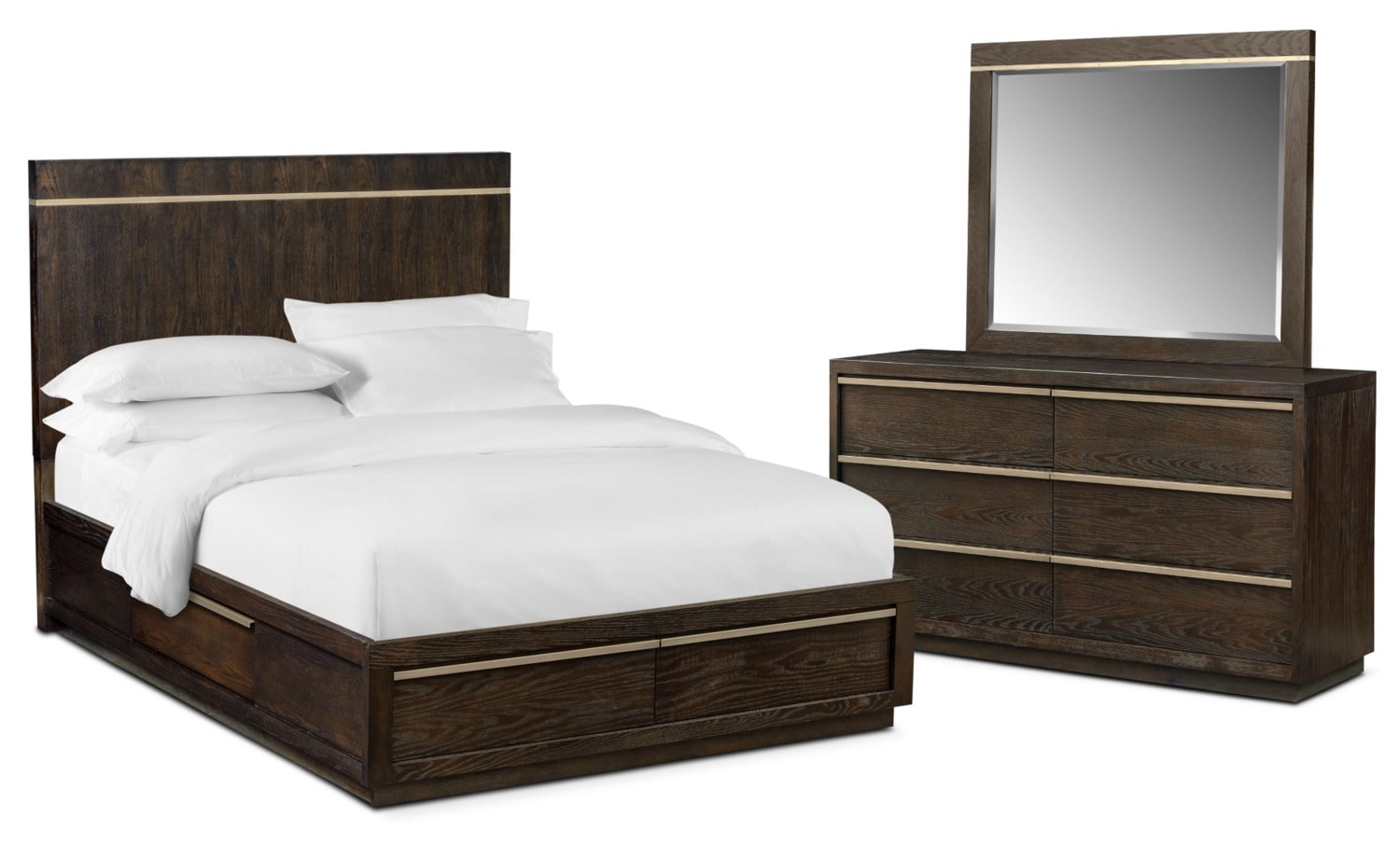 Bedroom Furniture - Gavin 5-Piece Storage Bedroom Set with Dresser and Mirror