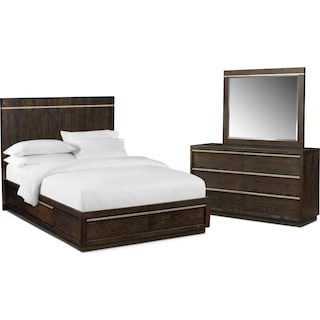 Gavin 5-Piece Queen Storage Bedroom Set - Brownstone