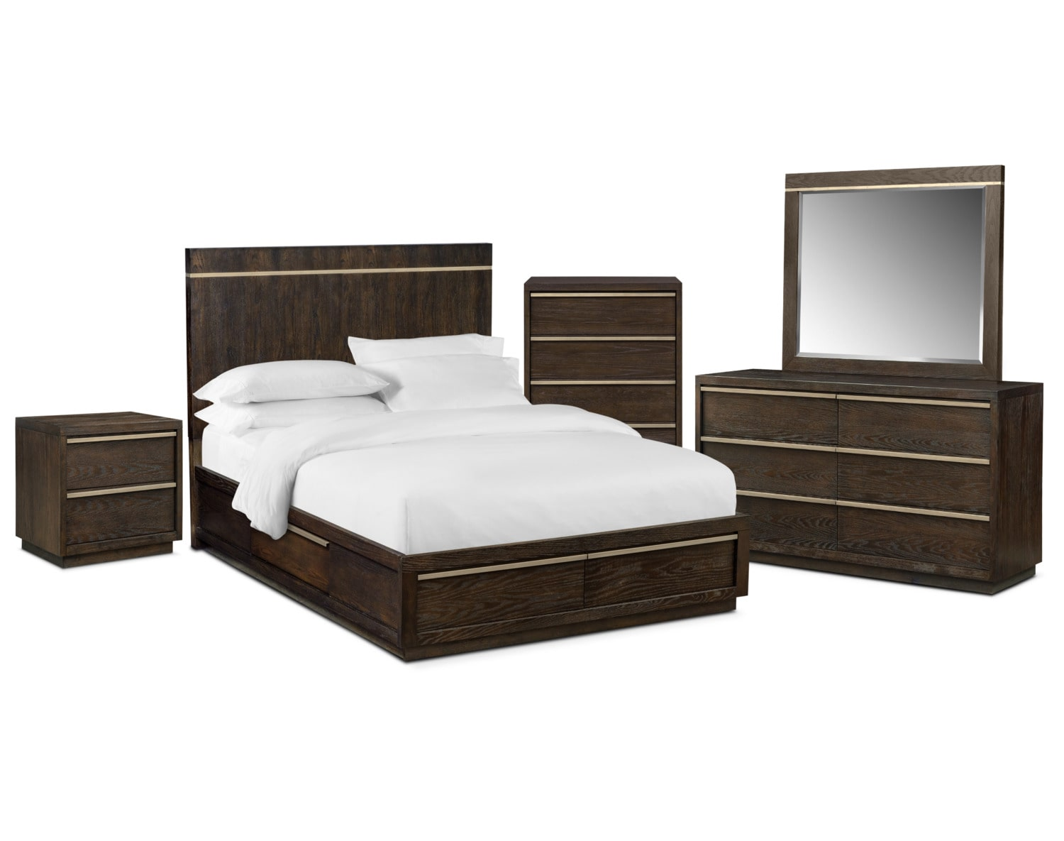 The Gavin Storage Bedroom Collection Brownstone Value City Furniture And Mattresses