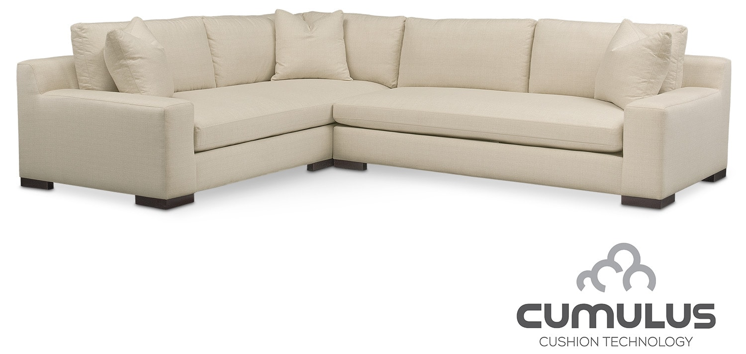Ethan Cumulus 2-Piece Sectional with Right-Facing Sofa - Cream