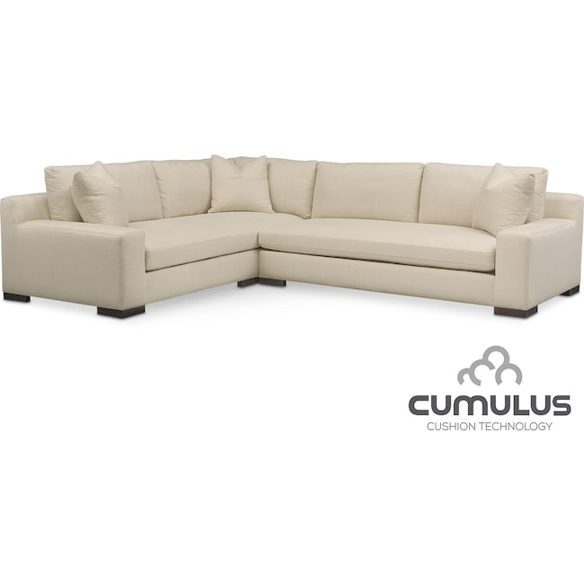 Living Room Furniture - Ethan Cumulus 2-Piece Sectional with Right-Facing Sofa - Anders Cloud