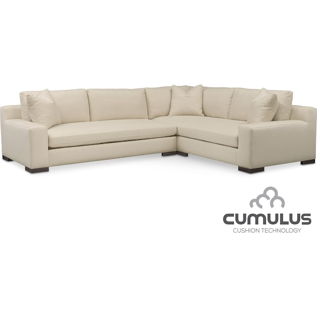 Living Room Furniture - Ethan Cumulus 2-Piece Sectional with Left-Facing Sofa - Anders Cloud