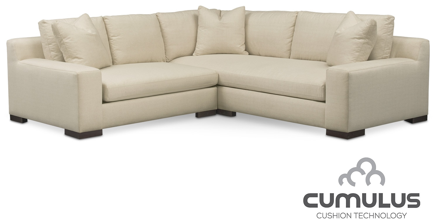 Living Room Furniture - Ethan Cumulus 2-Piece Sectional with Left-Facing Loveseat - Cream