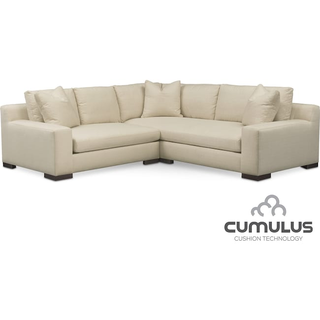 Living Room Furniture - Ethan Cumulus 2-Piece Sectional with Left-Facing Loveseat - Anders Cloud