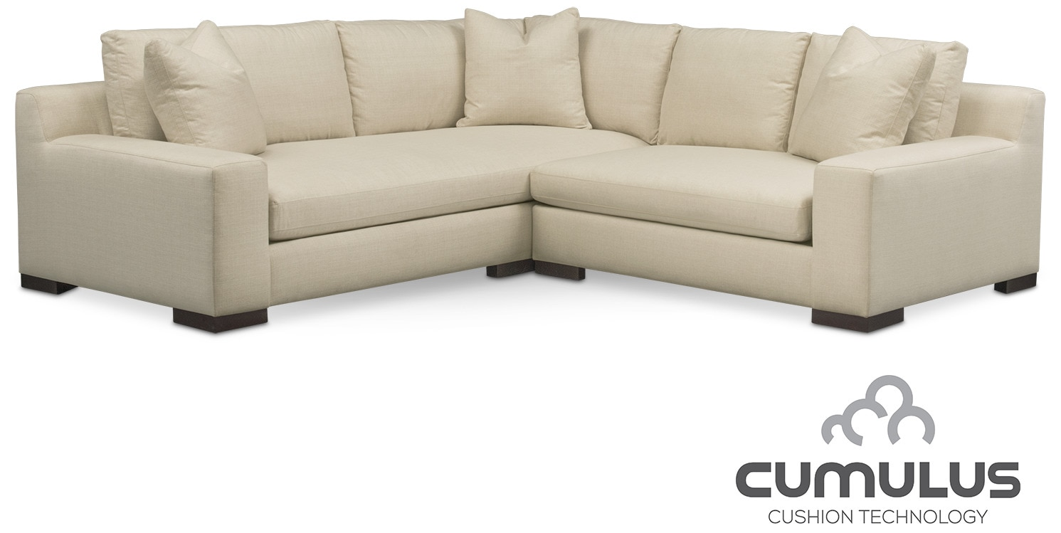 Ethan Cumulus 2-Piece Sectional with Right-Facing Loveseat - Cream