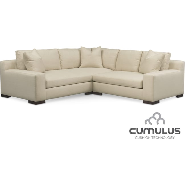 Living Room Furniture - Ethan Cumulus 2-Piece Sectional with Right-Facing Loveseat - Anders Cloud