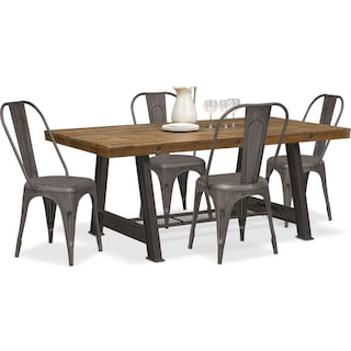 carnegie table and 4 splat back side chairs black - Dining Room Sets Value City Furniture