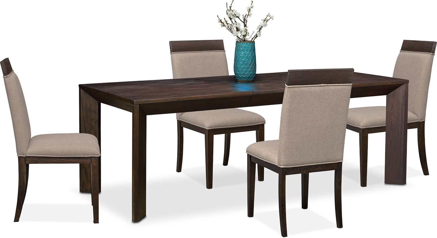 Gavin Table and 4 Side Chairs - Brownstone