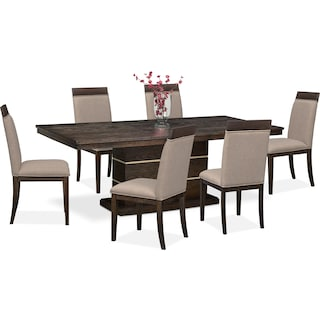 Gavin Pedestal Table and 6 Side Chairs - Brownstone