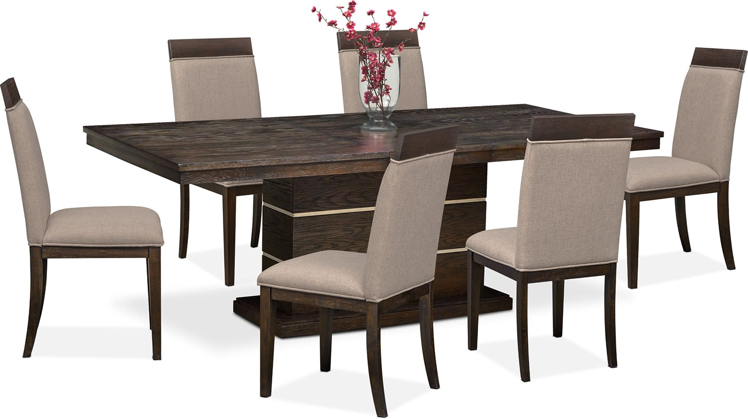 Dining Room Furniture   Gavin Pedestal Table And 6 Side Chairs   Brownstone