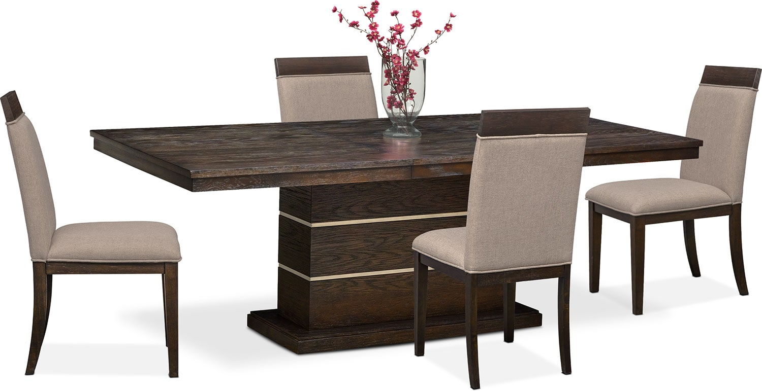 Gavin Pedestal Table And 4 Side Chairs   Brownstone