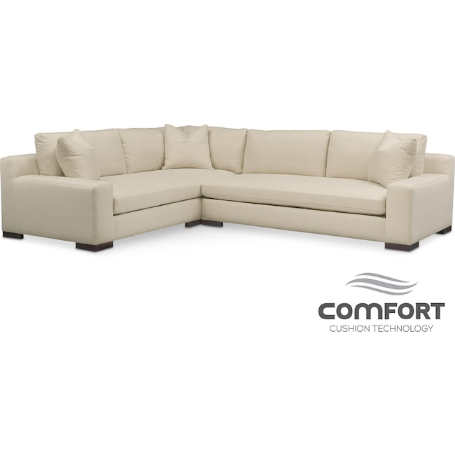Living Room Furniture - Ethan Comfort 2-Piece Sectional with Right-Facing Sofa - Cream