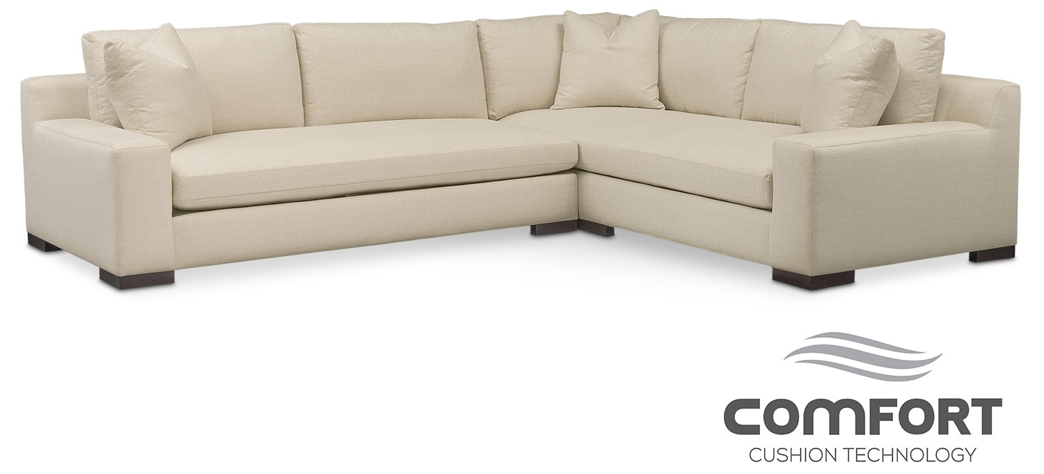 Living Room Furniture - Ethan Comfort 2-Piece Sectional with Left-Facing Sofa - Cream