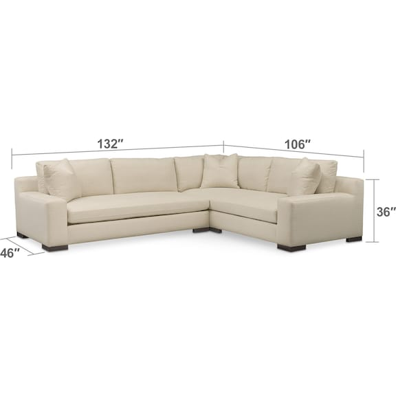 Living Room Furniture - Ethan Comfort 2-Piece Sectional with Left-Facing Sofa - Anders Cloud