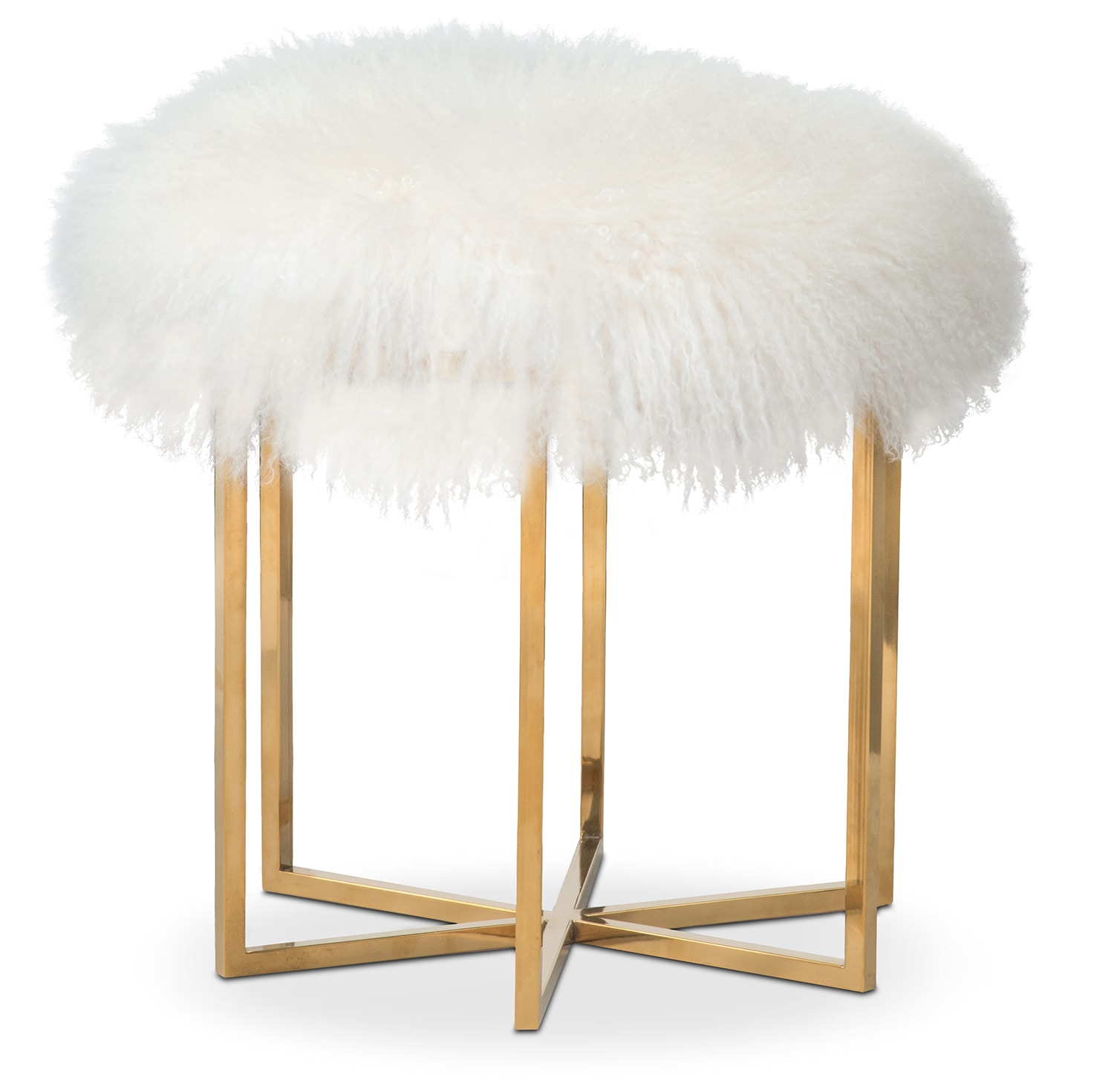 Accent and Occasional Furniture - Bichon Fur Stool - White