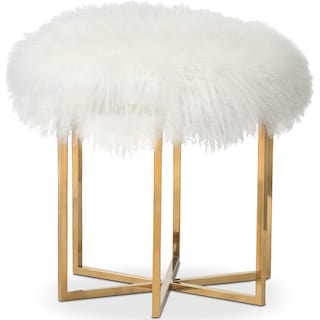 Bichon Fur Stool - White