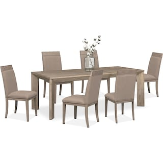 gavin table and 6 side chairs graystone - Dining Room Sets Value City Furniture