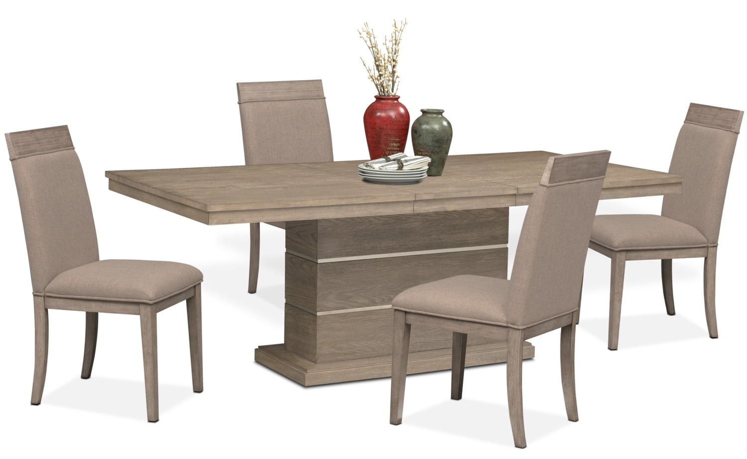 Dining Room Furniture   Gavin Pedestal Table And 4 Side Chairs   Graystone