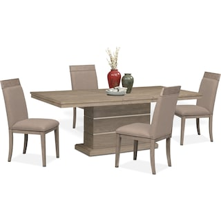 Gavin Pedestal Table and 4 Side Chairs - Graystone