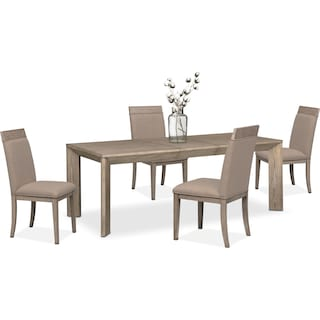 Gavin Table and 4 Side Chairs - Graystone
