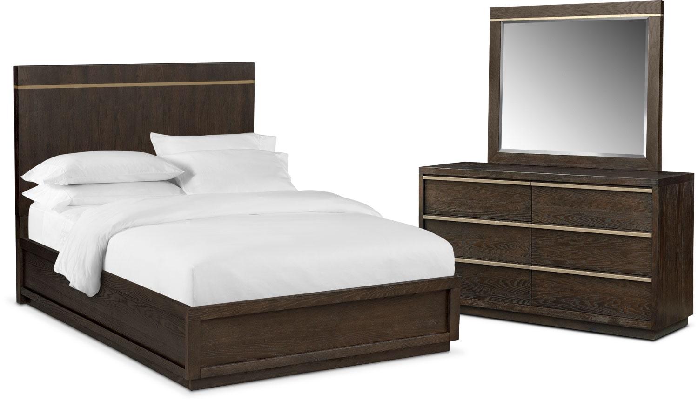 Bedroom Furniture - Gavin 5-Piece King Bedroom Set - Brownstone