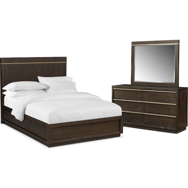 Bedroom Furniture - Gavin 5-Piece Queen Bedroom Set - Brownstone