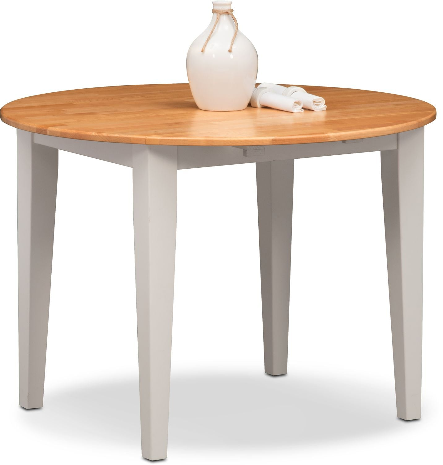 Nantucket drop leaf table maple and white value city for White dining room table with leaf