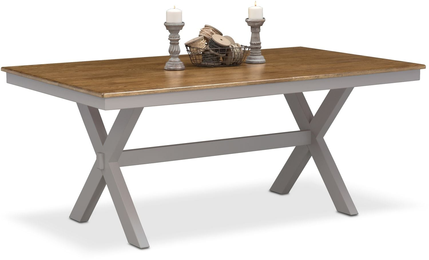 trestle dining table grey nantucket trestle table oak and gray value city 6376