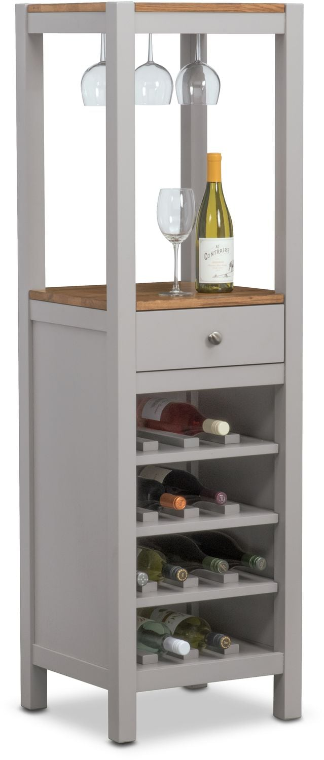 Dining Room Furniture - Nantucket Wine Cabinet - Oak and Gray