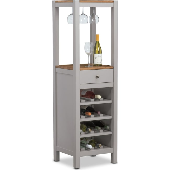 Nantucket Wine Cabinet - Oak and Gray | Value City Furniture and ...
